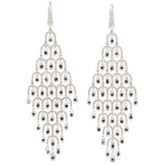 10 Carat Diamond Briolette Chandelier 18 Karat White Gold Chandelier Earrings