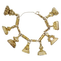 10k Gold Victorian Intaglio Fob Charm Bracelet