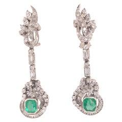 10 Karat Silver Edwardian Diamond and Emerald Earring in White Gold