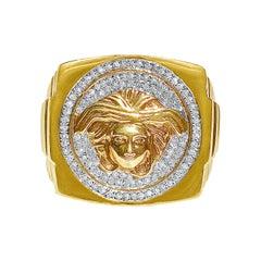 10k Solid Gold Diamond Men's Ring with Medusa Face