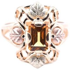 10 Karat Tri-Color Black Hills Gold Citrine Leaf Ring