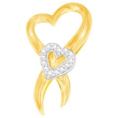 10k Two-Tone Gold 1/10 Ct TDW Diamond Heart Pendant Necklace 'H-I, I1-I2'