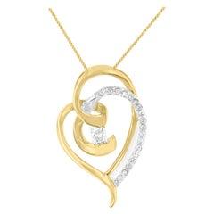 10K Two-Toned Gold 1/5 Ct TDW Diamond Swirl Heart Pendant Necklace 'I-J, I1-I2'