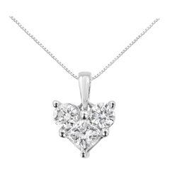 10K White Gold 1/2 Cttw Diamond Heart Shape Pendant Necklace