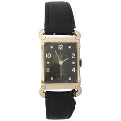 10 Karat White Gold-Filled Vintage 1940s Bulova Mechanical Watch
