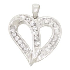 10K White Gold Love Heart Pendant For Necklace Baguette & Round Diamond 1/2 CTW