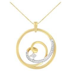 10k Yellow Gold 1/6ct TDW Diamond Heart Circle Pendant Necklace 'I-J, I1-I2'