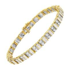 10k Yellow Gold 4.0 Cttw Baguette and Round Cut Diamond Tennis Bracelet