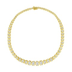 10K Yellow Gold 4.0 Cttw Diamond Graduating Riviera Statement Necklace