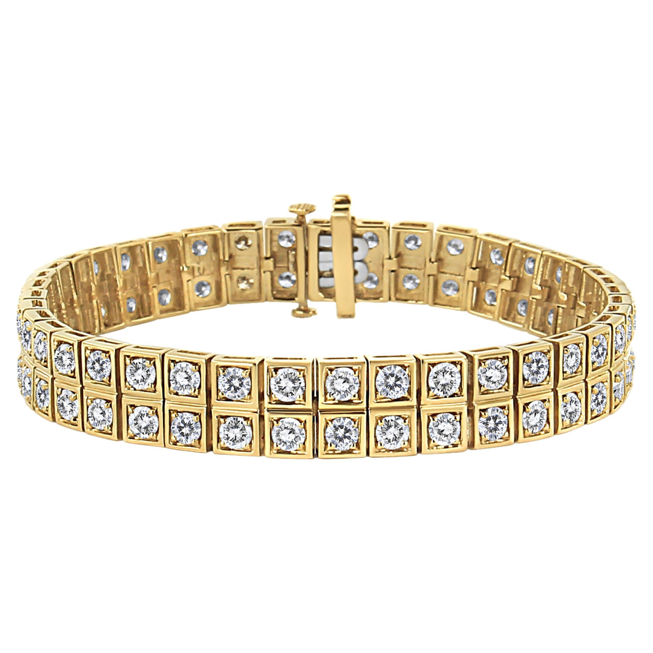 10K Yellow Gold 8.00 Carat Round-Cut Diamond Two Row Square Link Tennis Bracelet