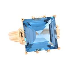 10 Karat Yellow Gold Square Step-Cut Blue Topaz Ring