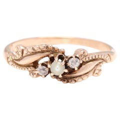 10 Karat Yellow Gold Victorian Pearl and Old European Cut Diamond Engraved Ring