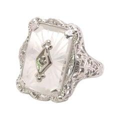 10kt Art Deco Camphor Glass Ring