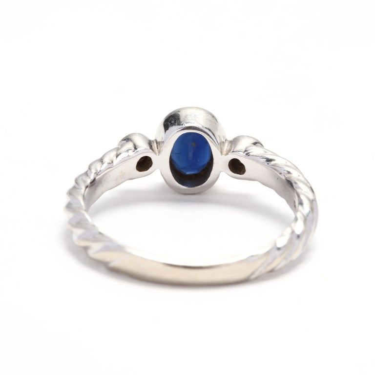 Oval Cut 10 Karat White Gold Sapphire and Diamond Ring For Sale