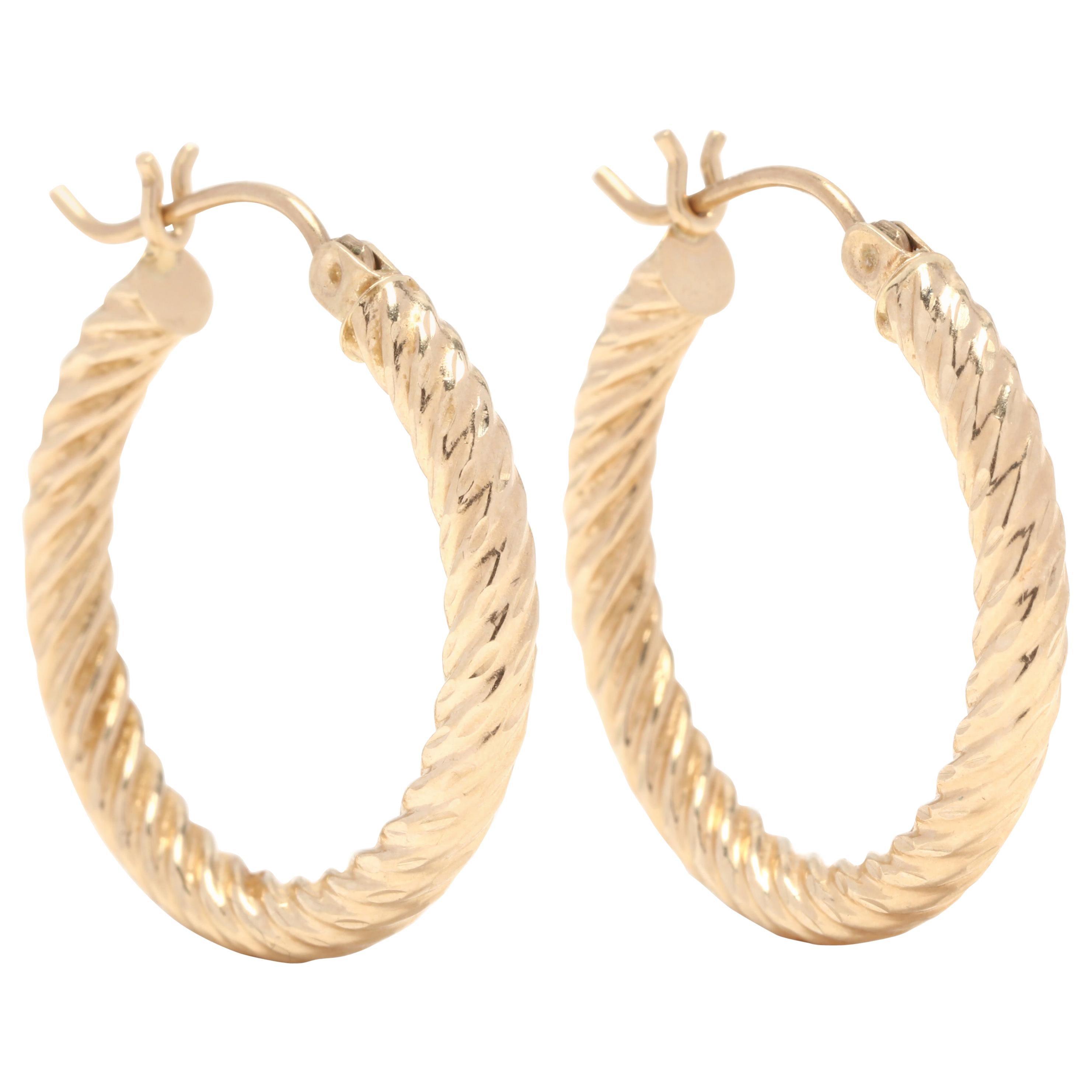 10 Karat Yellow Gold Twist Hoop Earrings