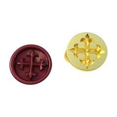 10 Karat Yellow Gold Fleur di Lis Signet Wax Seal Ring