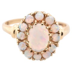 10 Karat Yellow Oval Cabochon Cut Opal Ring