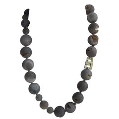 10mm, 16mm, & 20mm Grey Druzy Agate Quartz 925 Sterling Silver Gemstone Necklace