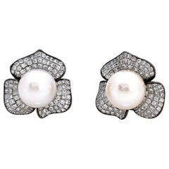 10mm Akoya Pearl and Pave Flower Black Rhodium Sterling Silver Earrings