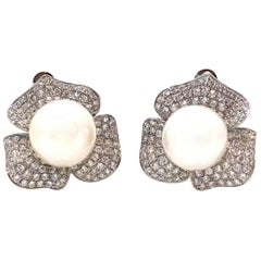 10mm Akoya Pearl and Pave Flower Clip-on Sterling Silver Earrings