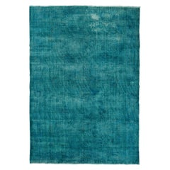 10x14 Ft Vintage Turkish Area Rug OverDyed in Teal Color, Wool Handmade Carpet