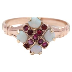 10Y Opal, Seed Pearl & Red Stone Ring
