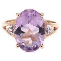 10Y Oval Amethyst & Diamond Ring