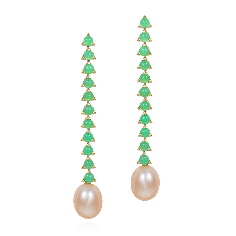 11- 3 mm Stone Baroque Pink Pearl Earrings, 18 Karat Gold,  Green Chrysoprase