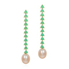 11- 3 mm Stone Baroque Pink Pearl Earrings, 18 Karat Gold,  Green Chrysoprase