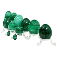 11 African Malachite Eggs in Ascending Size, 1970s