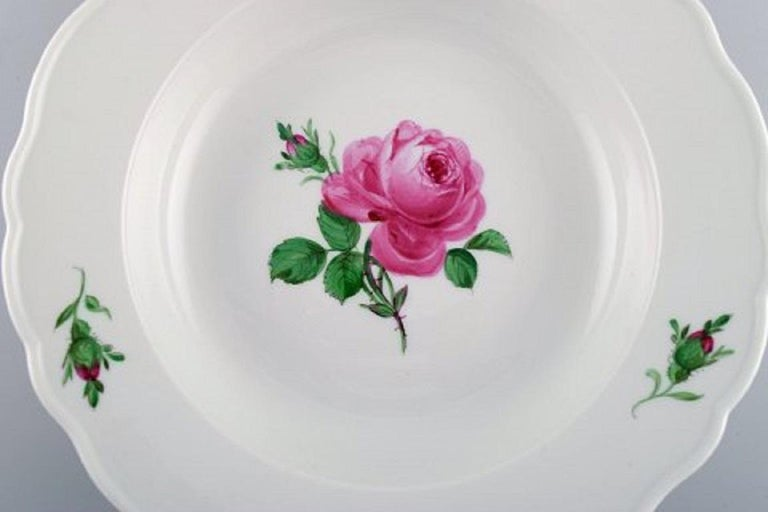 German 11 Antique Meissen Soup Plates in Hand Painted Porcelain with Pink Roses For Sale