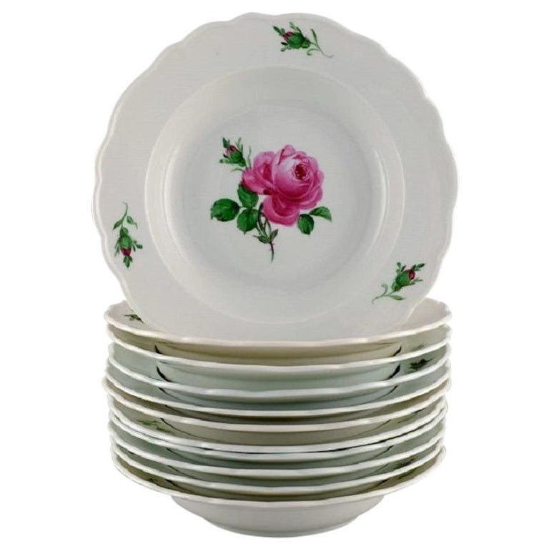 11 Antique Meissen Soup Plates in Hand Painted Porcelain with Pink Roses For Sale
