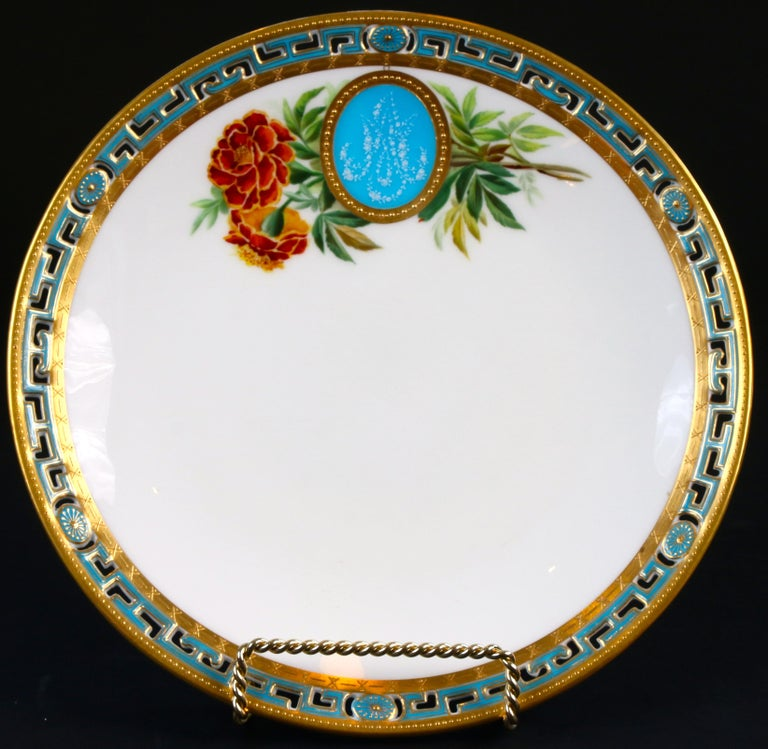 11 Antique Minton Pate-Sur-Pate Hand Painted Floral Plates In Good Condition For Sale In New York, NY
