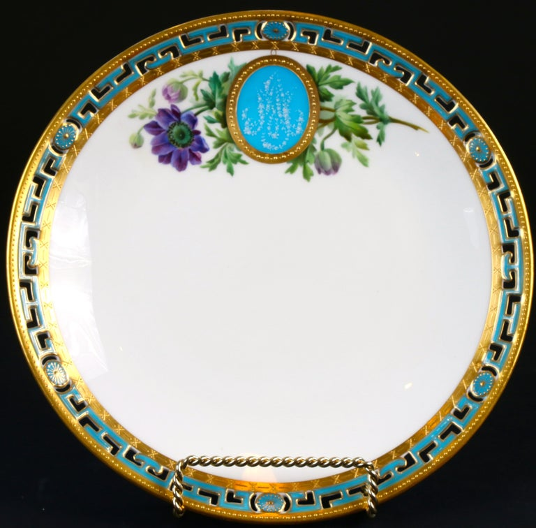 Late 19th Century 11 Antique Minton Pate-Sur-Pate Hand Painted Floral Plates For Sale
