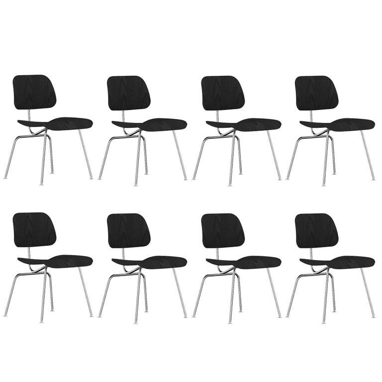 Black Eames DCM Chairs For Sale