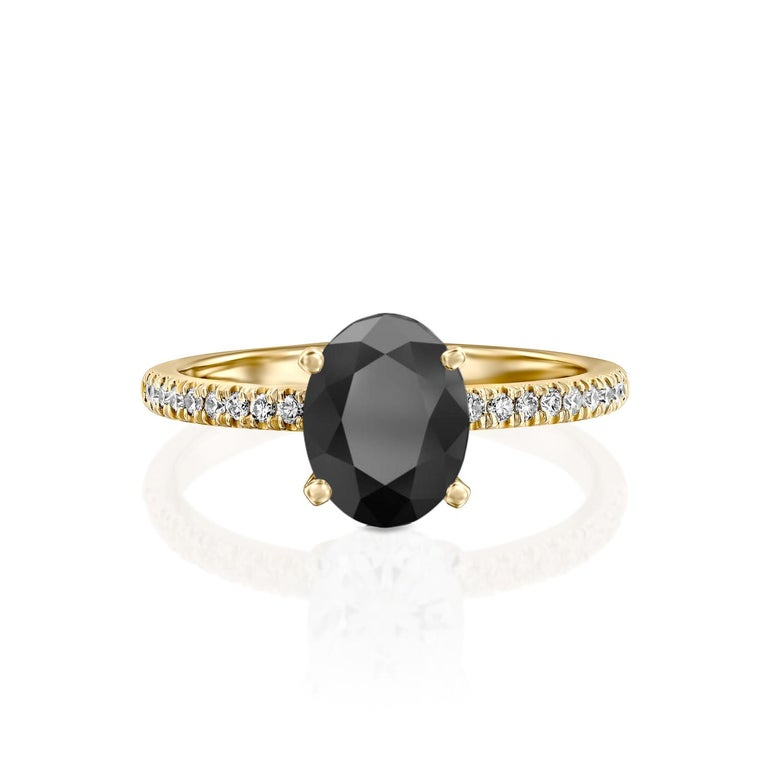 Beautiful solitaire with accents vintage style diamond engagement ring. Center stone is natural, oval shaped, AAA quality black diamond of 1 carat and it is surrounded by smaller natural diamonds approx. 0.15 total carat weight. The total carat