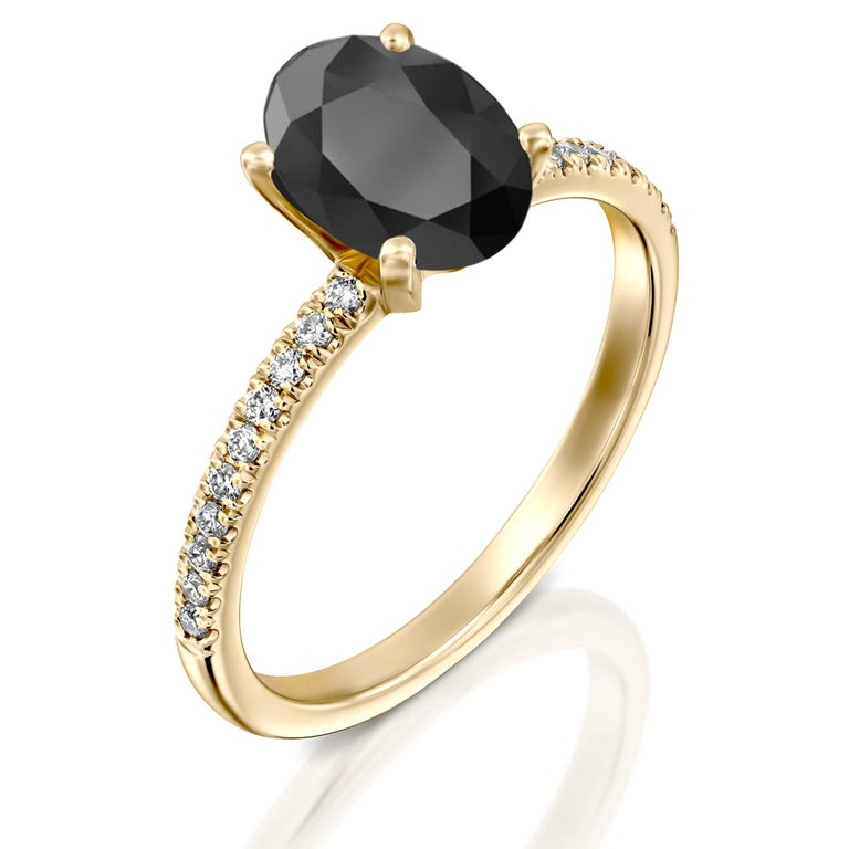 Art Deco 1.1 Carat 14 Karat Yellow Gold Certified Oval Black Diamond Engagement Ring For Sale