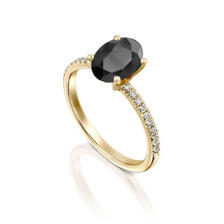 Oval Cut 1.1 Carat 14 Karat Yellow Gold Certified Oval Black Diamond Engagement Ring For Sale