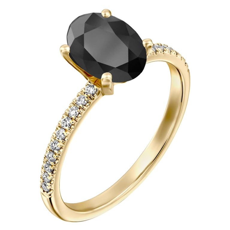 1.1 Carat 14 Karat Yellow Gold Certified Oval Black Diamond Engagement Ring For Sale