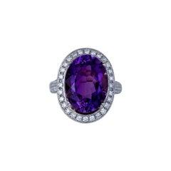 Vibrant, Halo 11 Carat Amethyst with 1.50 Ct Diamond Ring