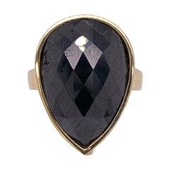 11 Carat Black Diamond 18 Karat Yellow Gold Bezel Set Solitaire Ring