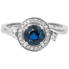 1.1 Carat Blue Sapphire and Diamond Ring in 18 Karat White Gold