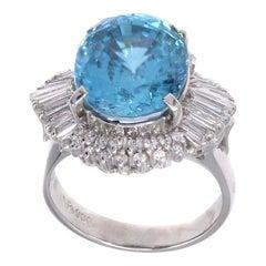 11 Carat Blue Zircon Diamond Platinum Ring