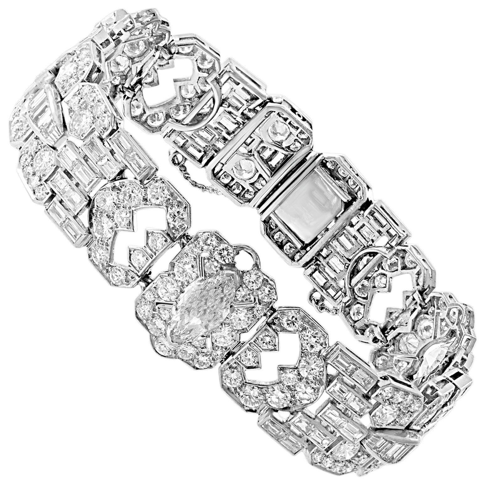 16 Carat Diamond 0.92 Solitaire Diamond Platinum Art Deco Style Tennis Bracelet