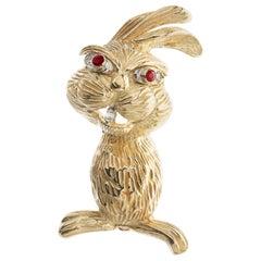 .11 Carat Diamond Ruby Yellow Gold Rabbit Brooch