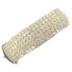 11 Carat Diamond Wide Yellow Gold Bangle Bracelet