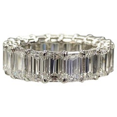11 Carat Emerald Cut Band Ring