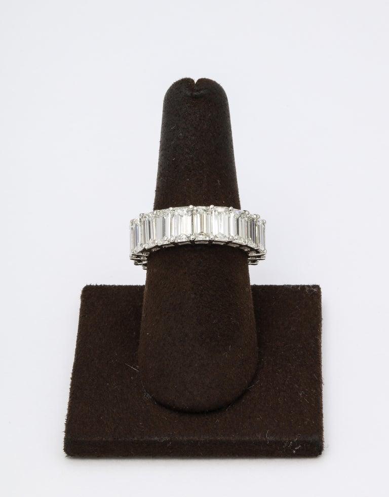 Women's or Men's 11 Carat Emerald Cut Diamond Eternity Band For Sale