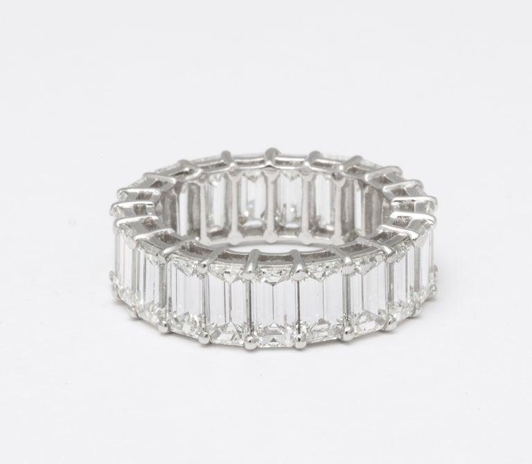11 Carat Emerald Cut Diamond Eternity Band For Sale 3