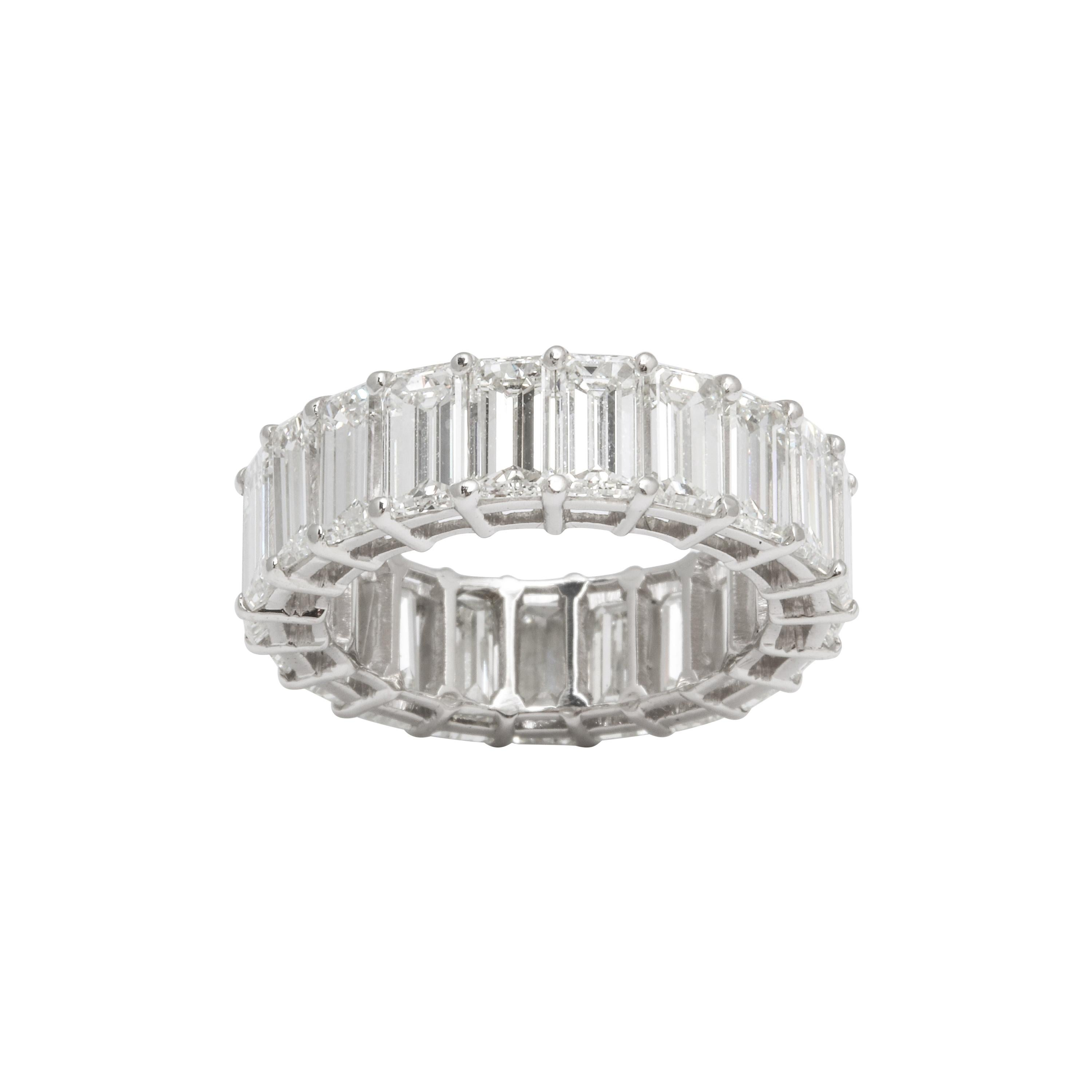 11 Carat Emerald Cut Diamond Eternity Band